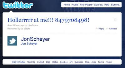 Drunk tweet by Jon Scheyer with his phone number