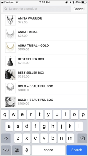 Instagram shoppable post items