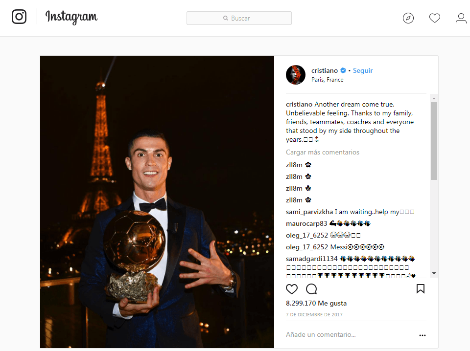 Cristiano Ronaldo's most liked Instagram Photo