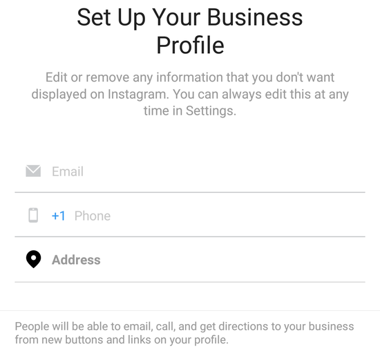 provide information of your business on instagram