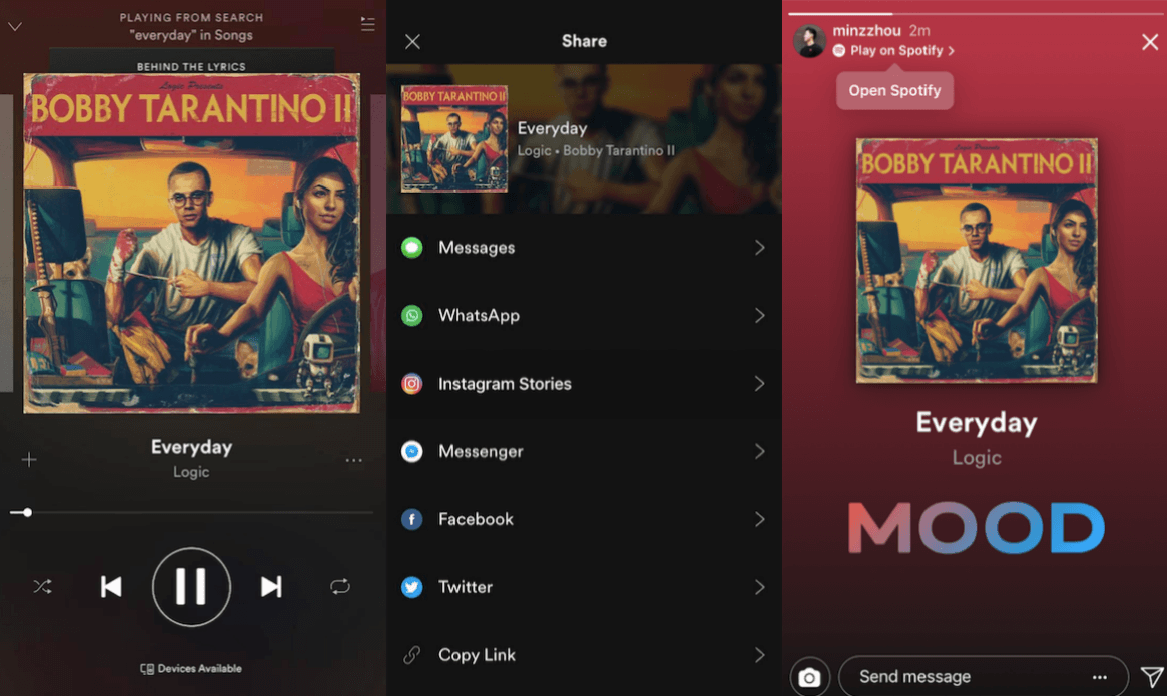 how to share spotify songs on Instagram stories