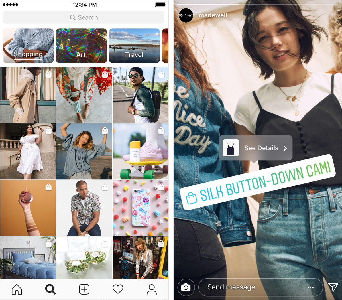 Instagram shopping in topic channels