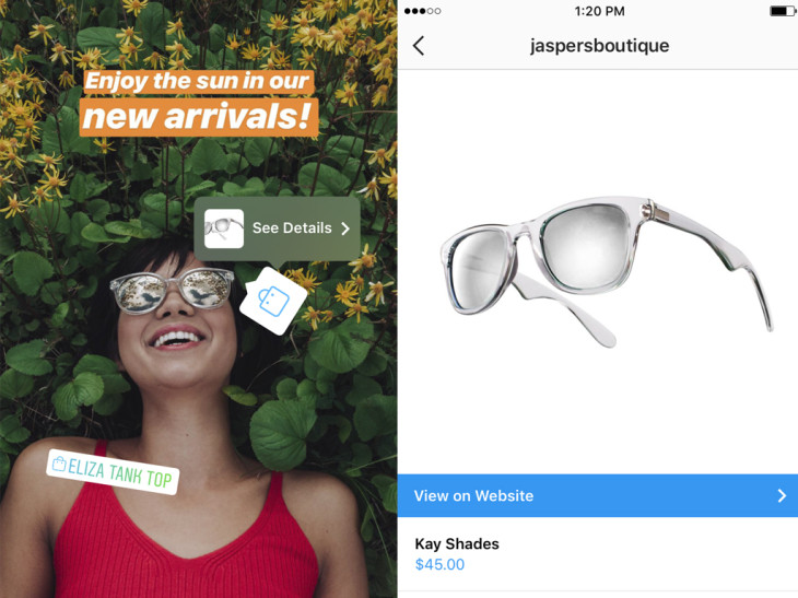 Instagram shopping is now available for stories
