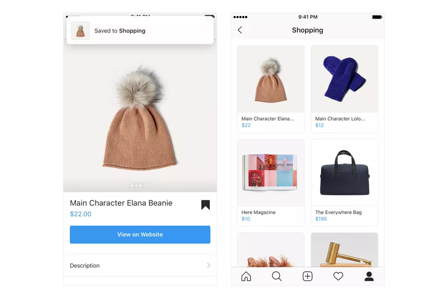 Instagram video shopping feature