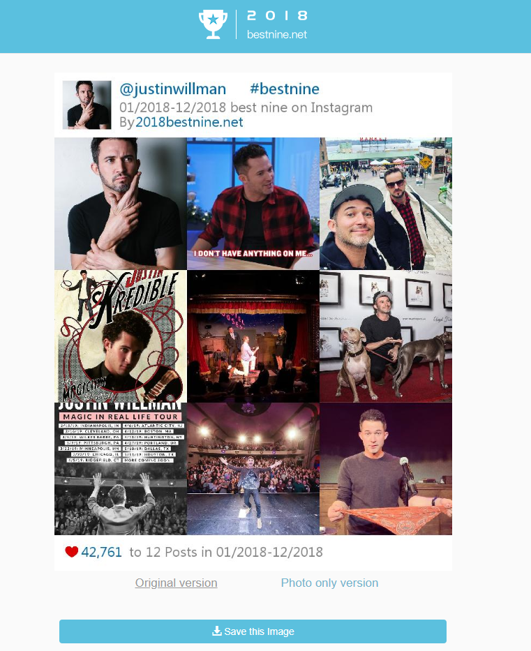 Justin Willman Instagram best nine