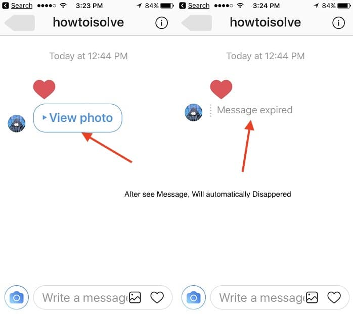 Instagram disappearing messages feature