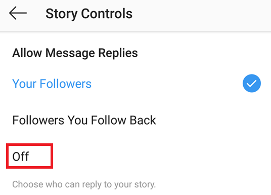 Disable messages replies on stories