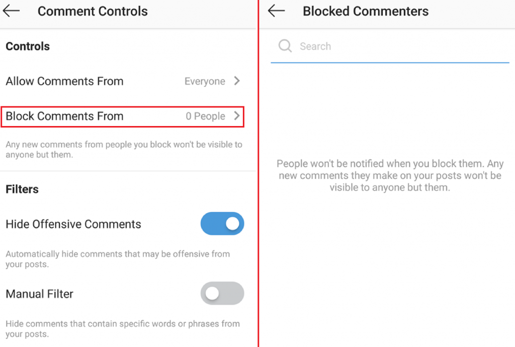 how to block Instagram comments