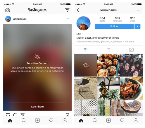 Instagram Sensitivity Screens