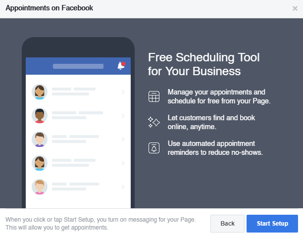 Facebook booking tool