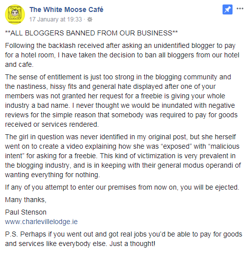 White Moose Hotel Message
